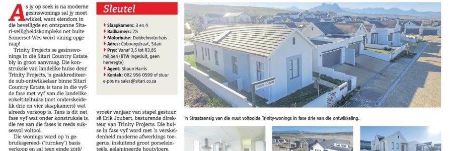 Die Burger Eiendomme: Sitari Country Estate – Konstruksie van Trinity Projects-huise in Sitari Country Estate verloop seepglad