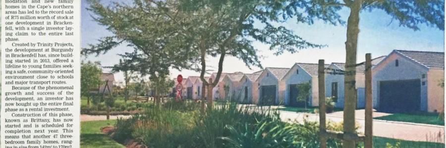 Weekend Argus – Investors snap up stock in popular northern suburb – Burgundy Estate