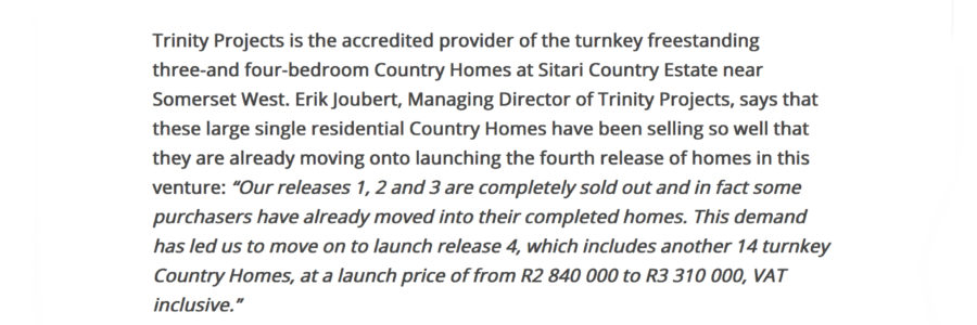 Propertywheel website – Sitari Country Estate's sales success spurs release of the fourth set of homes.